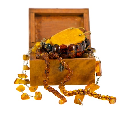 Amber apparel jewelry in retro wooden box isolated on white background  photo