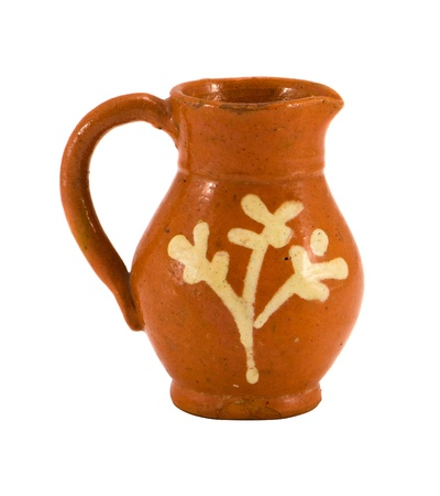 Retro clay pitcher brown color object with handle  and ornaments isolated on white background  Home handmade decoration Stock Photo - 15269320