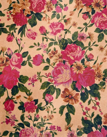 Blooming red roses wallpaper on wall  Decorated house interior   photo