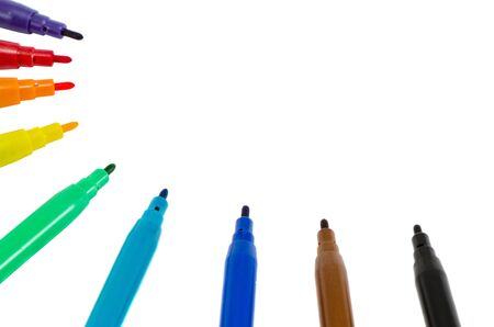 felt tip: Distinct colors felt tip pens without plugs isolated on white background  Place for text