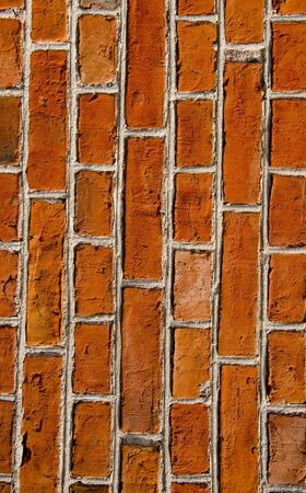 Wall closeup built of red brick background  Architectural details   photo