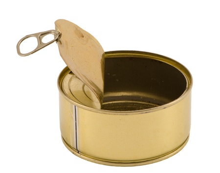 Side view of empty silver metal fish meat food tin can open and empty, with pull tab lid curled back  Stock Photo