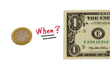 devaluation: concept compare usd dollar paper and european euro coin money   Stock Photo