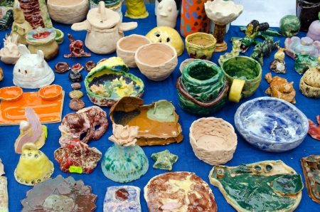 children handmade clay tableware dish and decorations sculptures sold in outdoor street fair   Stock Photo - 15969174