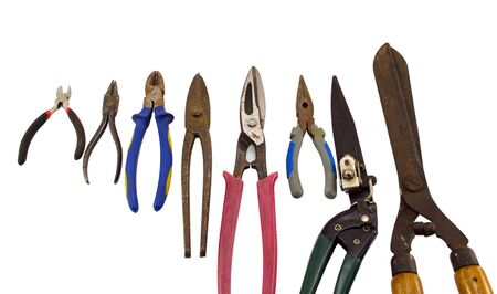 Various cut tools pincers pliers tongs bender collection isolated on white background.  Stock Photo - 16083843