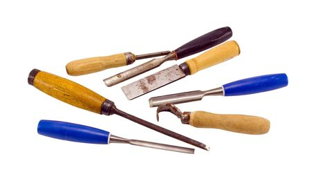 chisel graver carve tools collection for wood work isolated on white background Stock Photo - 16262557
