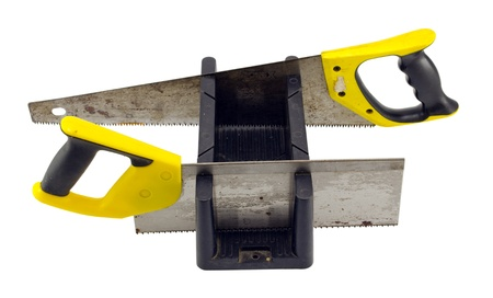 miter: miter box angle cut tool and two hand saws isolated on white background   Stock Photo