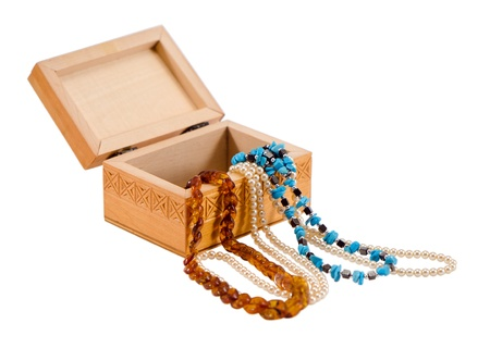 amber pearl necklace apparel jewelry in wooden box isolated on white background   photo