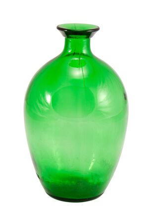 retro big green empty glass wine bottle isolated on a white background   photo