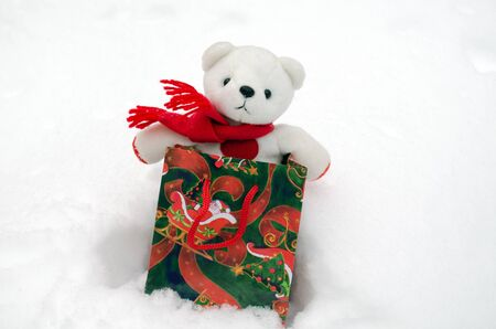 white plush teddy bear in christmas gift present bag on snow   photo