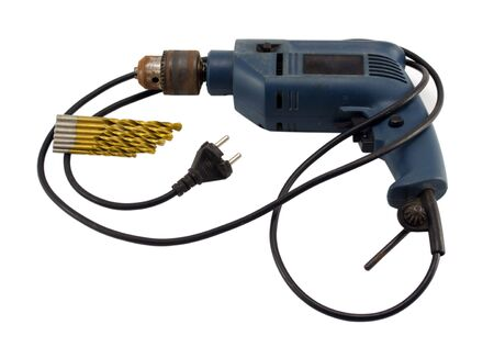 rusty retro electric drill with golden bit and rosette plug isolated on white background  photo