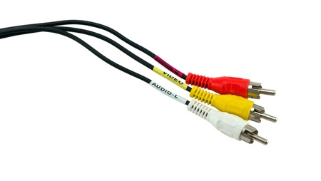 colorful tulip video audio tv cable wires red yellow and white connectors plugs  photo