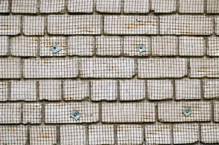 white brick wall with metal wire net attached prepared for renovation background closeup. Stock Photo - 18020181