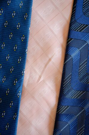 cravat tie scarfs texture pattern background  blue and pink material fashion sewings   photo
