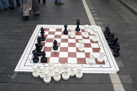 huge chess game figures  in Vilnius city street event  photo
