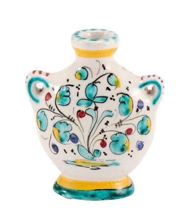 handmade ceramic flat vase with flower art paintings isolated on white background