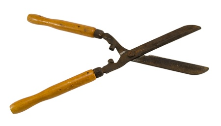 trimmers: vintage rusty gardener hedge trimmers clippers scissors tool with wooden handle isolated on white background
