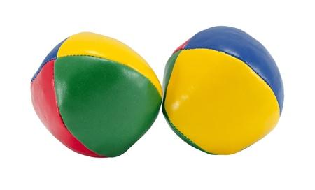 colorful soft juggle ball toys isolated on white background.  photo