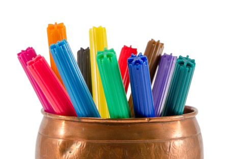 retro copper box full of colorful felt-tip pens isolated on white.  photo