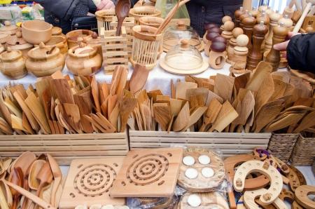 #21744090   Handmade Diy Wooden Kitchen Utensil Tools Sold In Bazaar Store  Fair.