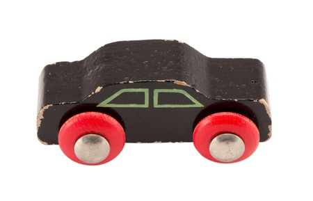 wooden black retro toy car model isolated on white background.  photo