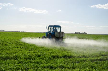 Aerosol Tractor fertiliza campo verde con químicos pesticidas insecticidas herbicidas en el campo de la agricultura en el sol de la tarde. Plantas de cuidado Farmer. Foto de archivo
