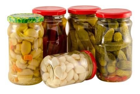 set jars of pickled preserved vegetables for winter resource  photo