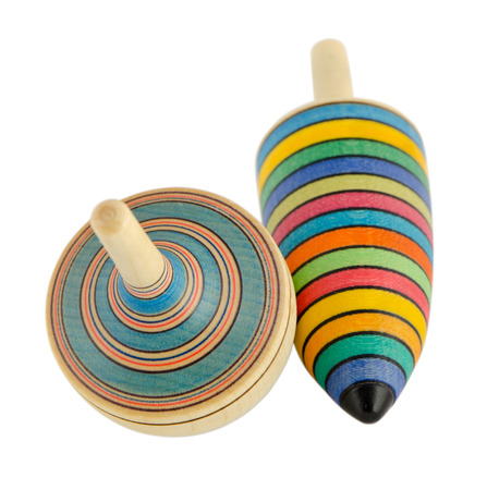 vintage wooden toy spinners isolated on white background  Zdjęcie Seryjne