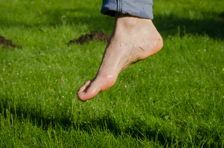 Dewy water drops on wet barefoot foot after walking in morning meadow grass.