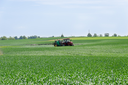 tractor with nozzles fertilizing grown crops from diseases and pests