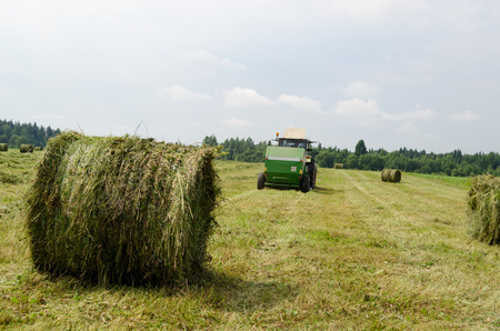 Straw bales and agricultural machine tractor collect gather hay in field near rural village houses.