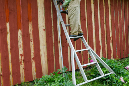 housepainter man on ladder paint wooden rural garden house wall with brush paintbrush.