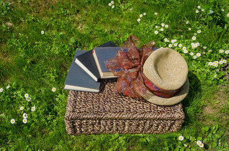 Wicker basket full of books between lawn grass and daisy flowers and retro hat.  Stock Photo