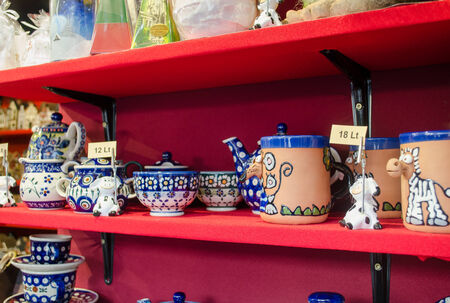 clay handmade decorated painted blue ornament bowl cup in market kiosk   Stock Photo
