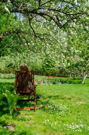 young gardener resting garden wooden chair in white flowering cherry shade  Stock Photo