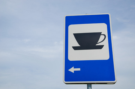 blue information road sign show for the coffee bar restaurant inn bistro dinner cafe cafeteria coffee tea cup service