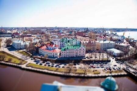 vyborg: View of the Old City from the observation deck of the Vyborg Castle in Vyborg, Russia Stock Photo