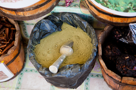teas: spices and teas in large rollers on the market in Egypt