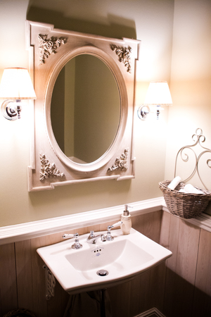 washstand: white washstand with large oval mirror in vintage style