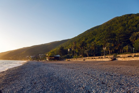 unusually: Black Sea in Abkhazia unusually clean and bright in sunset
