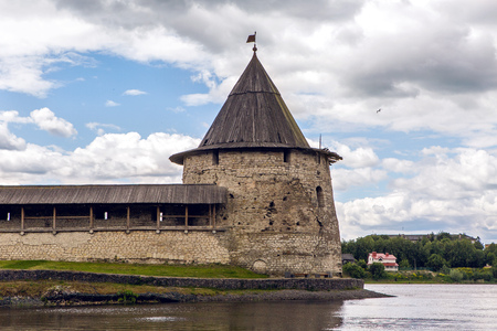 confluence: Pskov, Russia - June 6 : Pskov Kremlin at the confluence of two rivers, the Great and Pskov in Russia. Birthday of the great writer Alexander Pushkin , on June 6, 2016.