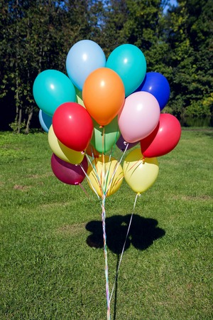 inflated: colorful inflated helium balloons in the bundle are flying off the trees in the forest in summer on holiday Stock Photo