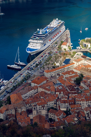 Kotor, Montenegro - September 26: view on autumn Bay in the town of Kotor, one large white liner came into the city early in the morning in the European day of languages on September 26, 2017