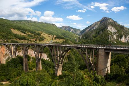 big bridge in Montenegro across the river in autumn