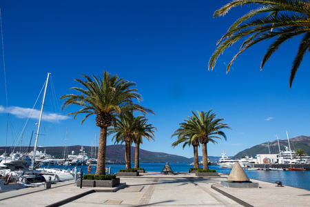 Tivat, Montenegro - September 21: group of large yachts stands at the pier in the Bay in the European day of languages on September 21, 2017 Editorial