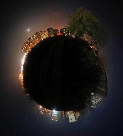 Kleine bolvormige wereld  Stockfoto