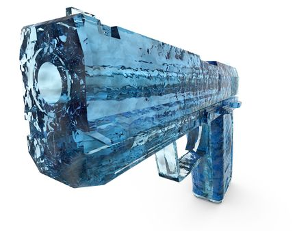 Rendered image of blue icy transparent hand gun.  Stock Photo
