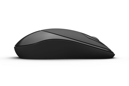 Computer generated black cordless mouse in white background with shade.