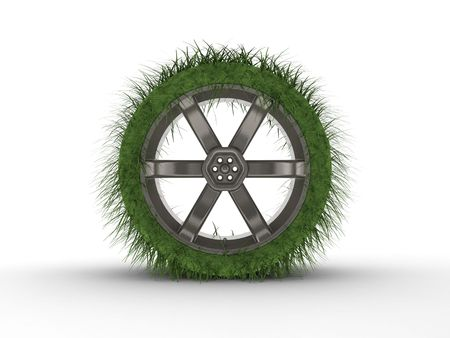 Rendered creative car tire with grass instead of rubber