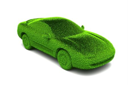 ecologic: Ecologic green car with grass surface Stock Photo
